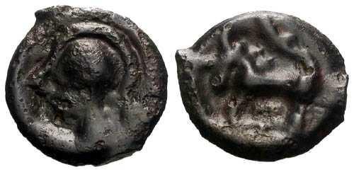 Ancient Coins - aEF/aEF Rare Senones Tribe Potin / Helmeted Bust