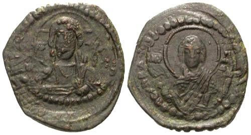 Ancient Coins - VF/VF Anonymous Class G AE Follis / Christ and Mary