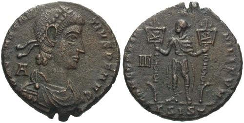 Ancient Coins - aVF/aVF Constantius II AE / Emperor holding Two Standards