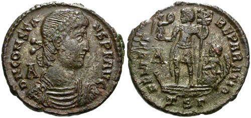Ancient Coins - VF Constans Centenionalis / Emperor on galley