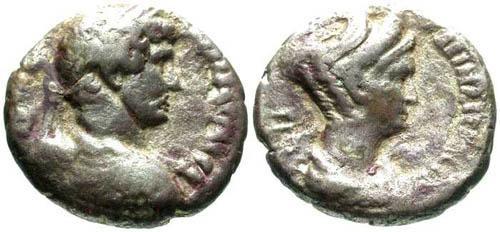 Ancient Coins - F+/F+ Hadrian and Sabina Tetradrachm / Alexandria / Rare