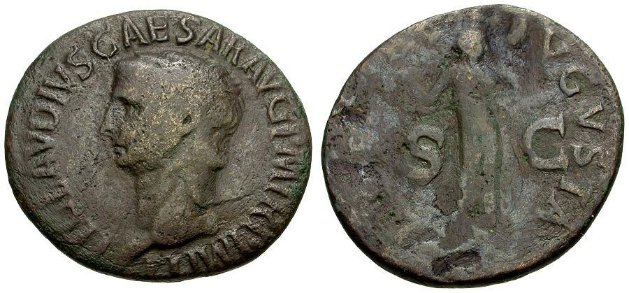 Ancient Coins - Claudius Æ AS / Libertas