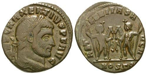 Ancient Coins - aVF/aVF Maxentius AE Follis / Castor and Pollux