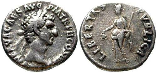 Ancient Coins - VF/aVF Nerva Denarius / Libertas