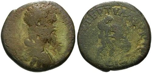 Ancient Coins - F/aF Septimius Severus AE24 / Hercules Strangling Nemean Lion
