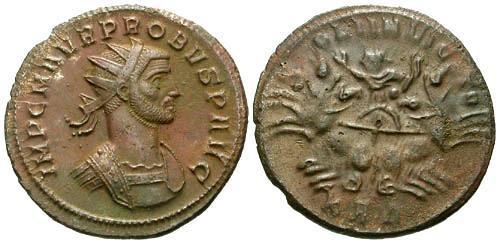 Ancient Coins - EF/VF Probus AE Antoninianus / Sol in Spread Quadriga
