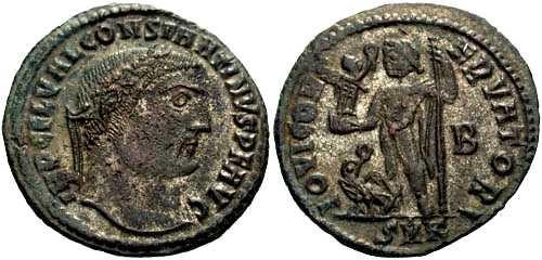 Ancient Coins - VF+ Constantine I follis, Jupiter stnd. Lt. holding Victory and scepter,eagle at ft