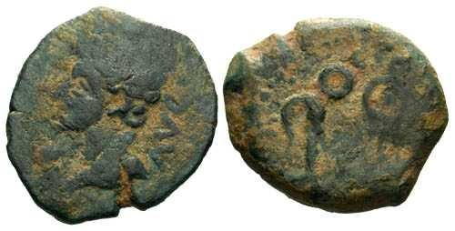 Ancient Coins - F+/aVF AE Quadrans of Augustus Iberian Colonia Patricia / Lituus
