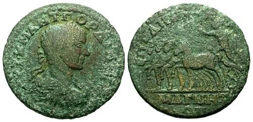 Ancient Coins - gF+/gF+ Gordian III Ionia Magnesia ad Maeandrum AE27 / Quadriga