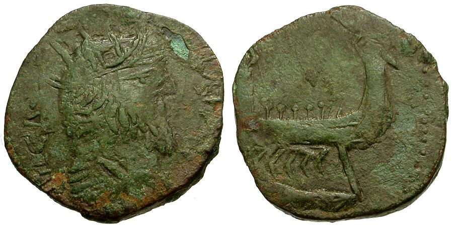 Ancient Coins - Postumus. Imitative Æ Antoninianus / Galley