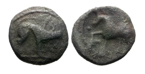 Ancient Coins - aVF/aVF Ambiani Tribe AE15 / Boar and Horse