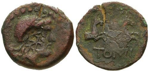Ancient Coins - VF/gF Thrace Tomis  AE / Counterstamp