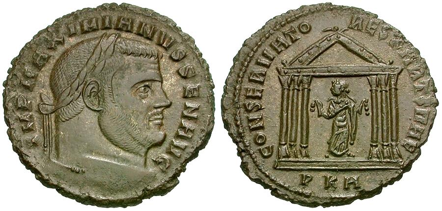 Ancient Coins - Maximian, as Senior Augustus (AD 306-307) AE Follis / Carthage in Temple