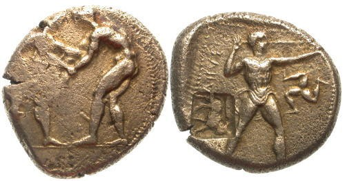Ancient Coins - VF/VF Aspendos Stater / Slinger and Bull Countermark