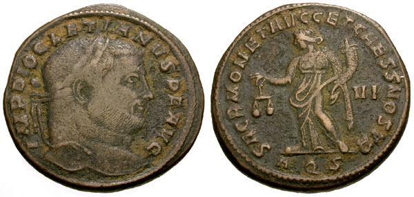 Ancient Coins - gF+/gF+ Diocletian Æ Follis /  Moneta