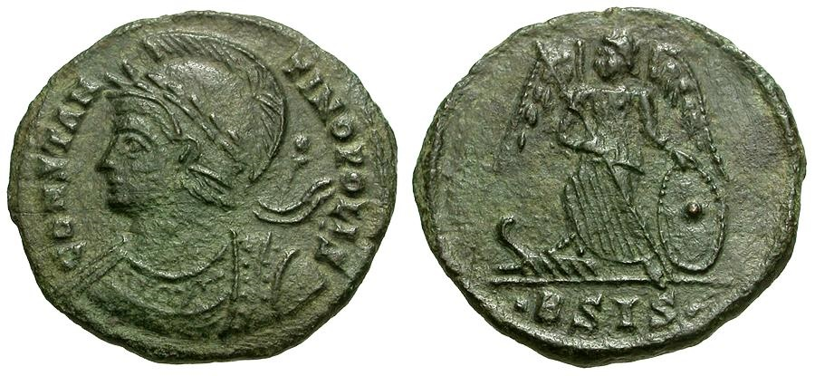 Ancient Coins - Constantinopolis Commemorative Æ4 / Victory on Prow