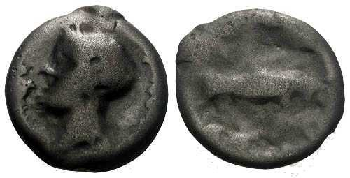 Ancient Coins - VF/VF Turones Tribe Potin / Devil Head