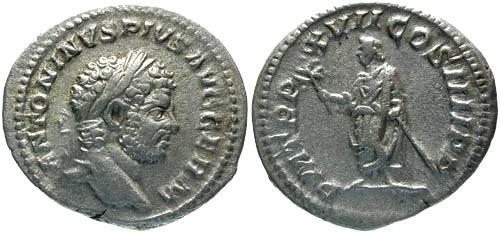 Ancient Coins - VF/aVF Caracalla Denarius / Caracalla standing left