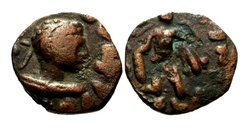 Ancient Coins - VF/VF Kujula Kadphises Local imitative AE Tetradrachm of Hermaios / Hercules