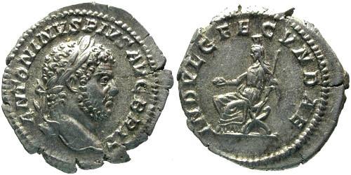 Ancient Coins - EF/EF Caracalla Denarius / Julia Domna or Indulgentia seated in Curule Chair