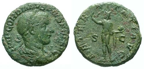 Ancient Coins - aVF/aVF Gordian III AE AS / Sol