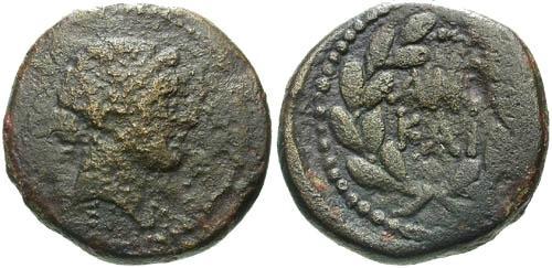 Ancient Coins - F/F+ Mark Antony and Octavian AE23 / ANT KAI