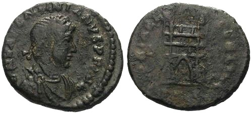 Ancient Coins - F/F+ Valentinian II AE4 / Campgate