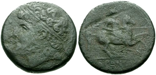 Ancient Coins - F/VG Hieron II Sicily Syracuse AE26 / Horseman