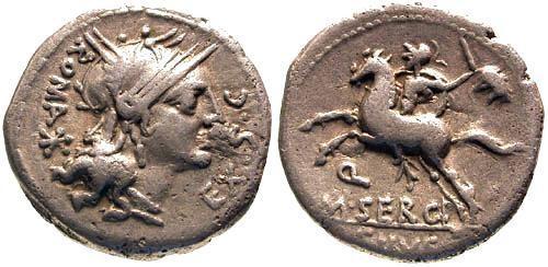 Ancient Coins - 116-115 BC / aVF/aVF Sergia 1a Roman Republic Denarius / Horseman with sword and Head of Barbarian