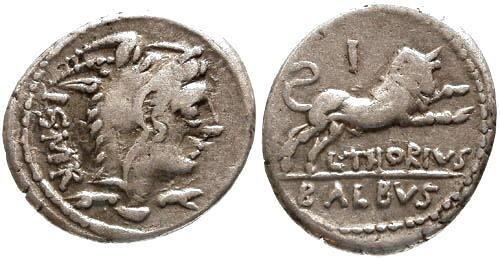 Ancient Coins - aVF/aVF Thoria 1 Roman Republic Denarius / Bull charging