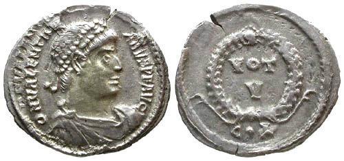 Ancient Coins - Valentinian I AR Siliqua / Wreath