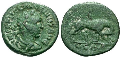 Ancient Coins - VF/aVF Gallienus AE21 / She-Wolf and Twins