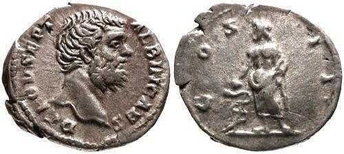 Ancient Coins - VF/aVF Clodius Albinus as Caesar Denarius / Aesculapius right
