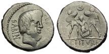 89 BC - Roman Republic. L. Titurius Sabinus AR Denarius / Death of Tarpeia