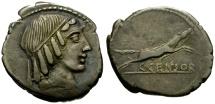 Ancient Coins - 88 BC - Roman Republic, C. Censorinus AR Denarius / Jumping horse