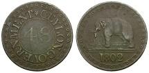 World Coins - Ceylon Æ 1/48 Rixdollar / Elephant