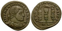 Maximinus II Æ Follis / Legionary eagle and vexilla