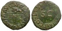 Ancient Coins - Claudius Æ Quadrans / Hand holding scales