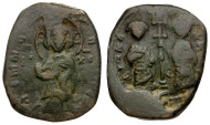 Ancient Coins - Byzantine Empire.  Constantine X Ducas and Eudocia Æ Follis