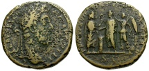 Ancient Coins - Commodus Æ Sestertius / Serapis and Emperor Crowned by Victory