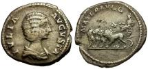Ancient Coins - Julia Domna AR Denarius / Domna Driving Quadriga of Lions