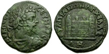 Ancient Coins - Septimius Severus. Thrace. Anchialus Æ27 / City Wall with Towers