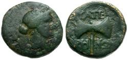 Ancient Coins - Lydia.  Thyateira Æ15 / Apollo and Double Axe