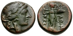 Ancient Coins - Thessaly.  Thessalian League Æ16 / Apollo and Athena