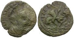 Ancient Coins - Theodora (AD 337-340). Imitative Æ4 / Muled - Fallen Horseman