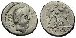 Ancient Coins - 89 BC - Roman Republic. L. Titurius Sabinus AR Denarius / Death of Tarpeia