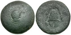 Ancient Coins - Macedon. Anonymous Issue Æ16 / Shield Decorated with Herakles
