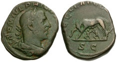 Ancient Coins - Philip I Sestertius Æ / Wolf and Twins