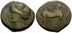 Ancient Coins - aVF/aVF Zeugitania, Carthage Æ Double Shekel / Tanit / Horse