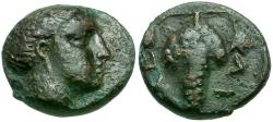 Ancient Coins - Thessaly. Meliboea Æ12 / Grapes